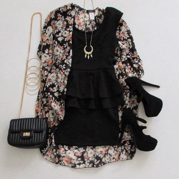 dress black floral cute shoes peplum date outfit jewels necklace