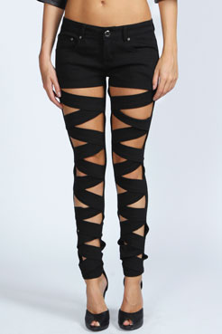 Viola Lattice Front Skinny Jeans at boohoo.com