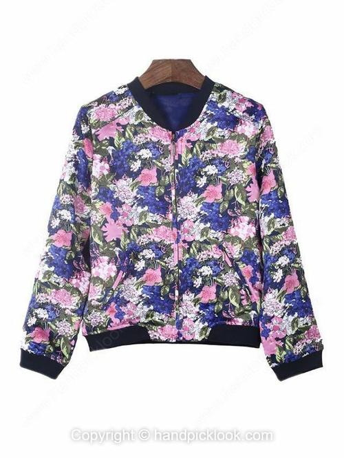 Blue Scoop Long Sleeve Floral Print Coat - HandpickLook.com