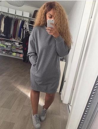 shirt sweater grey grey sweater sweater dress dress with pockets dress outfit jumper dresses