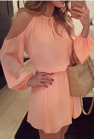 dress peach fashion cut out shoulder trendy girly long sleeves style elegant rose wholesale-jan