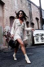 little black boots,blogger,dress,shoes,bag,scarf,sock boots,handbag,mini dress,givenchy bag,tumblr,long sleeves,long sleeve dress,polka dots,ruffle,ruffle dress,boots,high heels boots,white boots,black bag,sunglasses