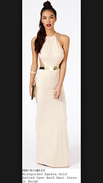 beige dress, white dress, missguided, backless, belted dress, maxi ...