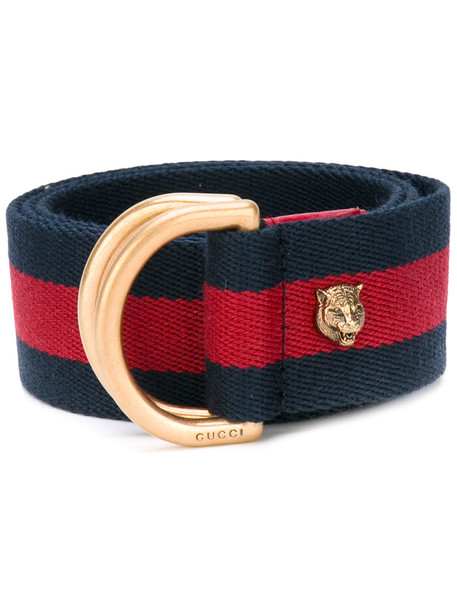 87f8762bf gucci Gucci - feline-embellished Sylvie Web belt - women - Cotton/metal -  85, Blue, Cotton/metal