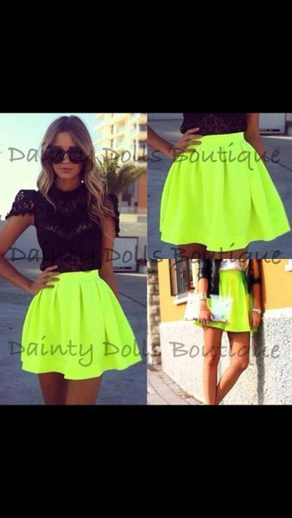 neon yellow skirt t-shirt