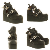 shoes,jeffrey campbell,boots,open sides,black,straps,gold,ankle boots,platform shoes,leather