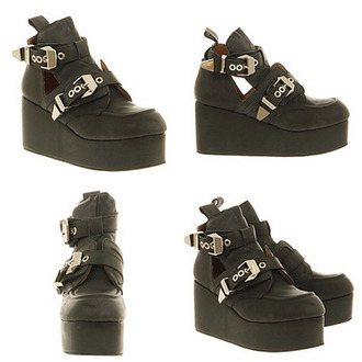 shoes jeffrey campbell boots open sides black straps gold ankle boots platform shoes leather
