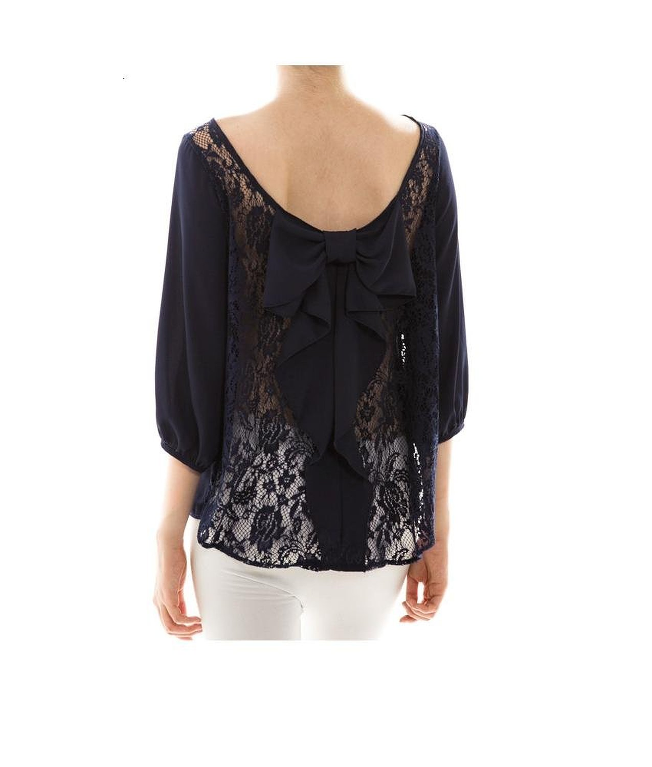 Bow Back Lace Detail Chiffon Top at Amazon Women's Clothing store: