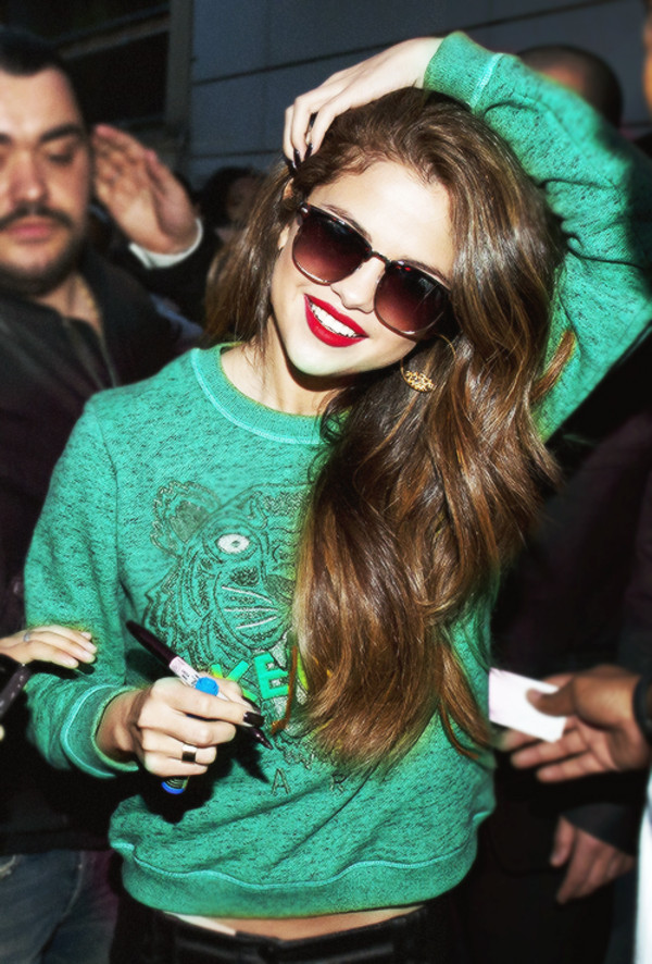 blouse sunglasses green sweater shirt green fashion selena gomez selena gomez