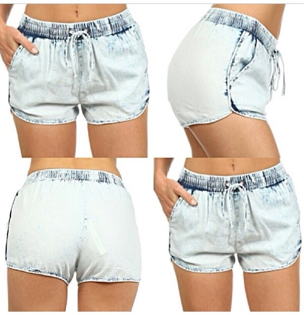 Summer ultra thin small fresh vintage loose denim shorts ...