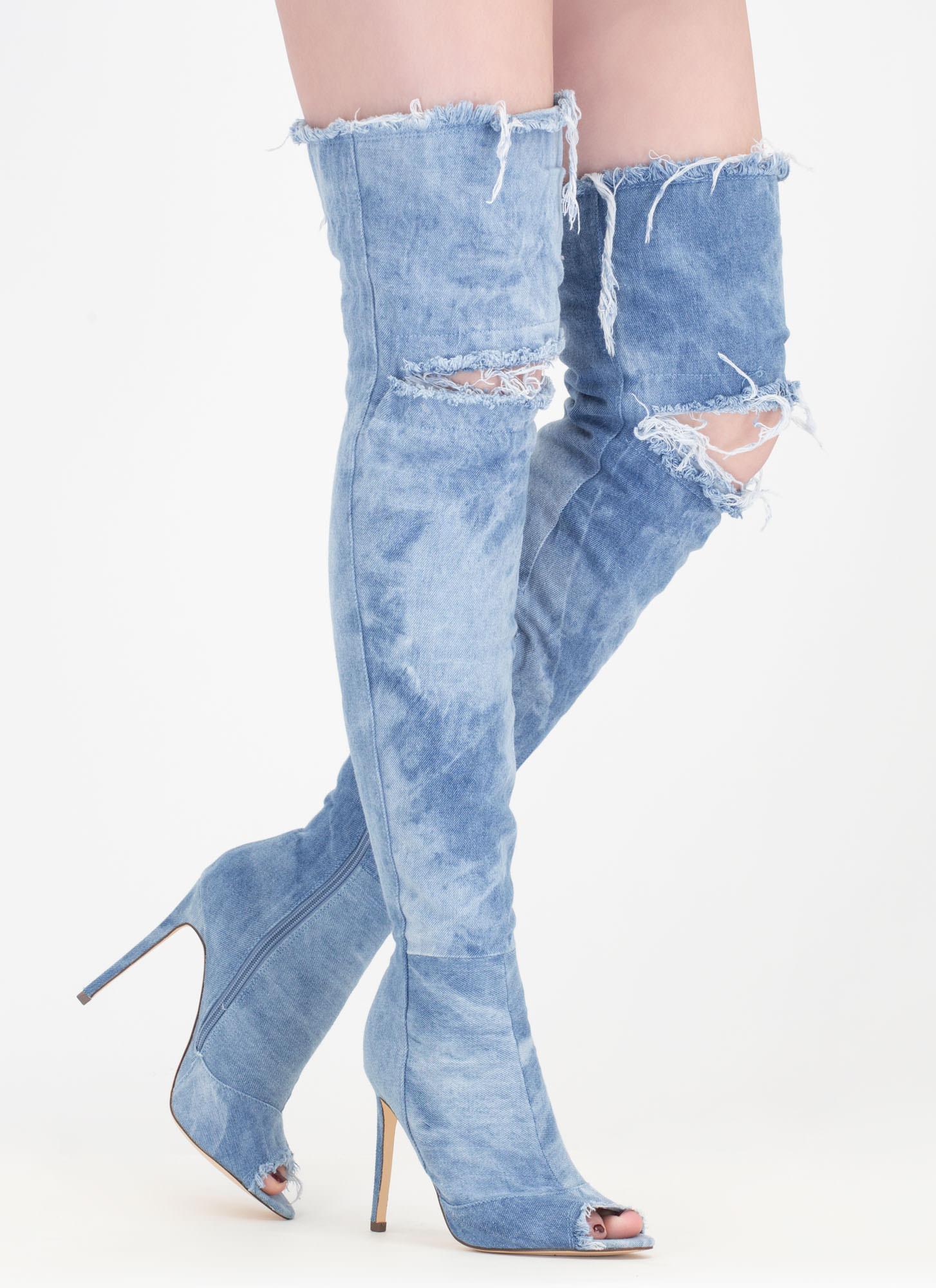 Signal Denim Thigh-High Boots GREY BLACK BLUE MEDIUMBLUE - GoJane.com