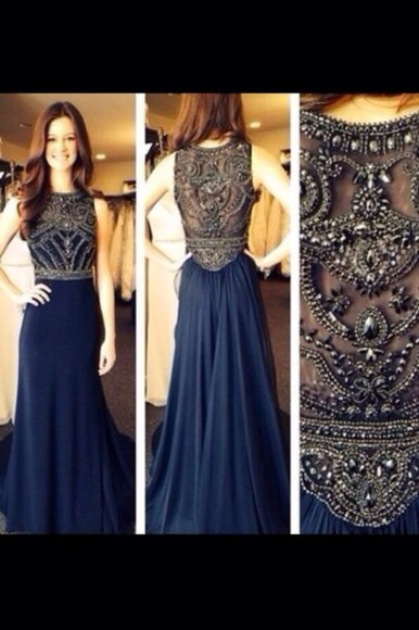 dress navy blue dress prom dress dazzling blue halter dresses long prom dresses navy blue formal dress, blue, prom ,