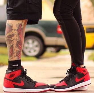 shoes nike nike shoes jordan jordans jordan 1s black red running running shoes