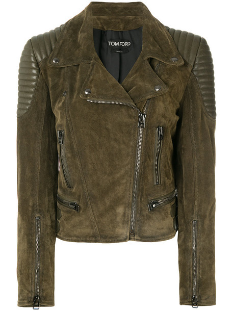 Tom Ford jacket biker jacket women silk green