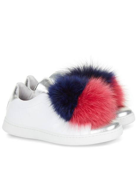 White & Silver Fur Pom Pom Slip-On Sneakers