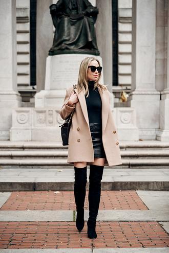skirt mini skirt black skirt boots over the knee boots over the knee coat camel camel coat top turtleneck