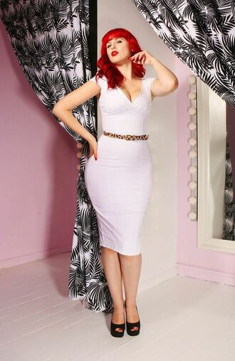 dress leopard print belt white dress cocktail dress pin up