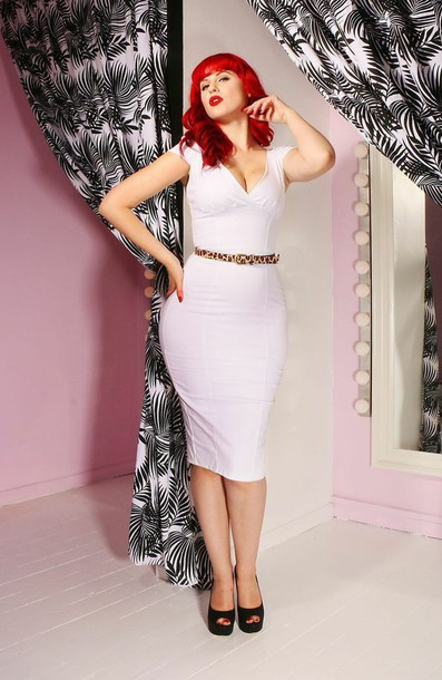 Dress: leopard print belt white dress cocktail dress pin up ...