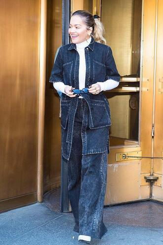 jacket denim jacket denim jeans rita ora spring outfits celebrity wide-leg pants