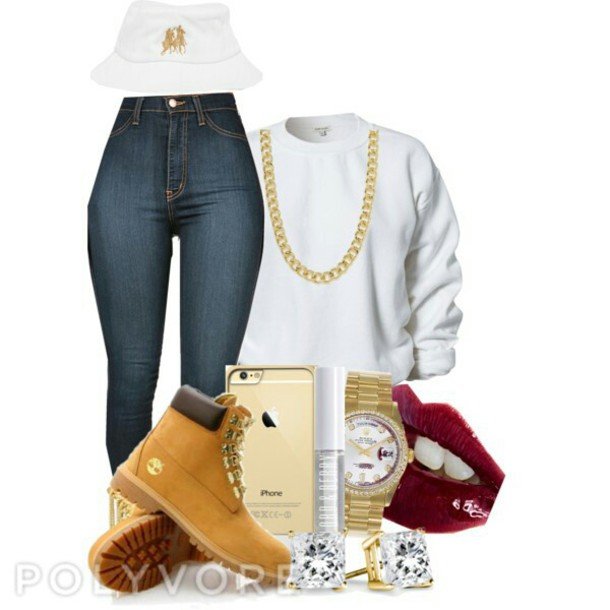 sweater timberlands boots high waisted jeans bucket hats hat
