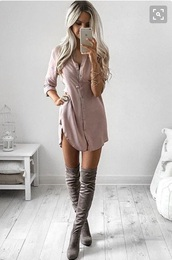 dress,sleeves,love,cute,summer,button up,blush pink,shirt dress,twill,long sleeves,slit dress,mauve,pink,rustic,tunic,dusty pink,blouse dress,nude,button up blouse,suede,suede boots,tunic dress,pretty,knee high boots,beige dress,silk