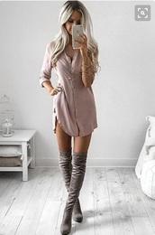 dress,sleeves,love,cute,summer,button up,blush pink,shirt dress,twill,long sleeves,slit dress,mauve,pink,rustic,tunic,dusty pink,blouse dress,nude,button up blouse,suede,suede boots,tunic dress,pretty,knee high boots,beige dress,silk