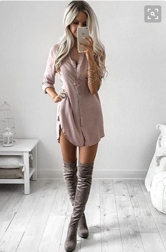 dress sleeves love cute summer button up blush pink shirt dress twill long sleeves slit dress mauve pink rustic tunic dusty pink blouse dress nude button up blouse suede suede boots tunic dress pretty knee high boots beige dress silk