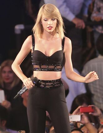 top taylor swift jimmy kimmel black crop top rhinestones bustier set make-up