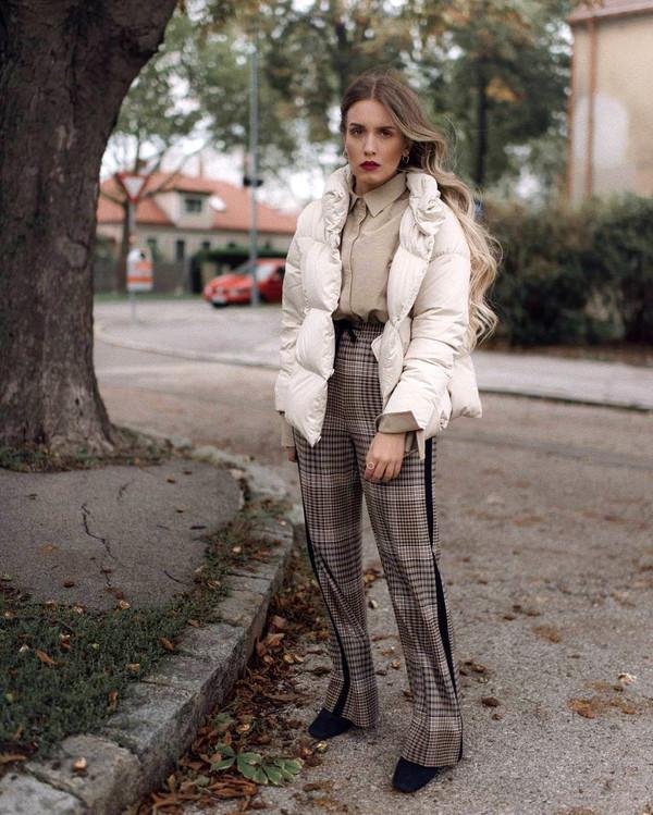 pants grey pants white jacket tumblr wide-leg pants check pants plaid pants jacket down jacket shirt fall outfits