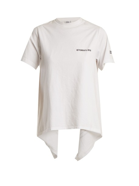 Vetements t-shirt shirt t-shirt back open white print top