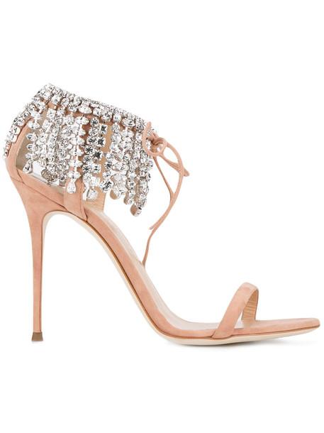 GIUSEPPE ZANOTTI DESIGN women sandals leather nude suede shoes