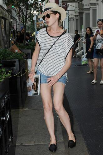 top striped top stripes anne hathaway shorts