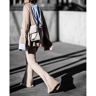 pants tumblr flashes of style flare pants nude pants sweater nude sweater knitwear bag grey bag chloe faye bag chloe matching set