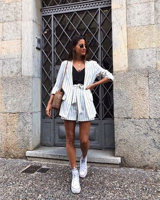 jacket v neck blazer shorts black top top stripes stripped blazer white blazer white shorts converse white converse sunglasses bag