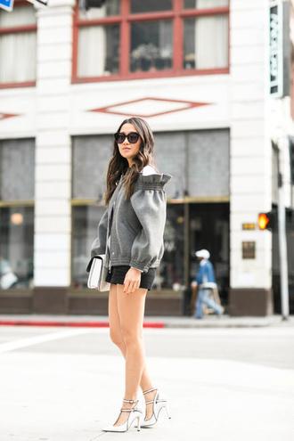 wendy's lookbook blogger bag shoes sunglasses grey jacket black shorts white heels white bag