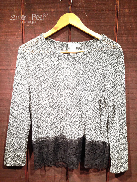 sweater lace black and white grey sweater