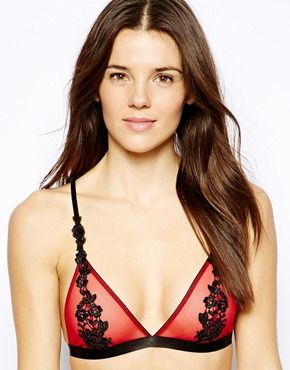 ASOS | ASOS Boudoir Applique Lace Overlay Soft Triangle Mesh Bra at ASOS