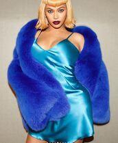 dress,mini dress,camisole,beyonce,blue,fur,fur scarf,instagram,halloween costume,halloween makeup,halloween