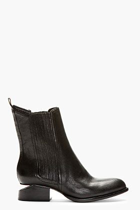 Alexander Wang Black Leather Silver-heeled Anouck Chelsea Boots for women | SSENSE