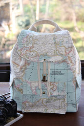 bag,leather backpack,map print,backpack,buckles,world,map,leather bag,globe,cute,perfect,stylish,back to school,vintage,earth,blue,beautiful,bookbag,map backpack,atlas backpack,tumblr,color backpack map print world world map,cute backpack,pack,what,camera,workout,map rucksack,school bag,bags and purses,travel,backbag,rucksack,travel bag,travelling,camping