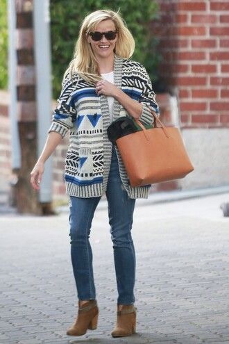 reese witherspoon ankle boots sunglasses tribal cardigan leather bag bag cardigan