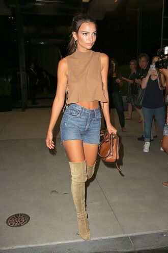 shorts ny fashion week 2016 model off-duty emily ratajkowski top boots over the knee boots crop tops streetstyle