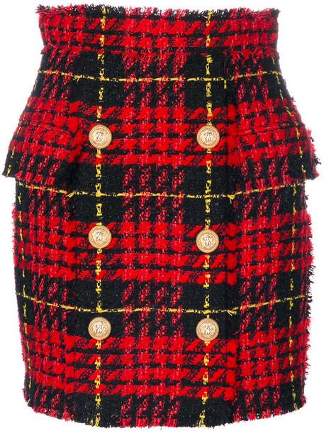 Balmain skirt women cotton wool tartan