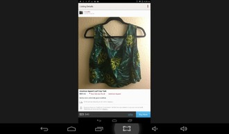 shirt crop tops palm leaf palm leaf palm leaf print