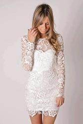 pas cher robe de soirée élégante mini longueur courte à manches longues en dentelle robe de soirée dans  de  sur Aliexpress.com