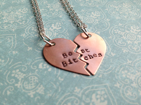 Best Bitches Heart Necklace Set Hand by LaurenElaineDesigns