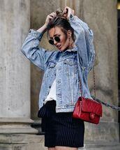 jacket,denim,denim jacket,bag,shorts,black shorts,white top,top,sunglasses,bun