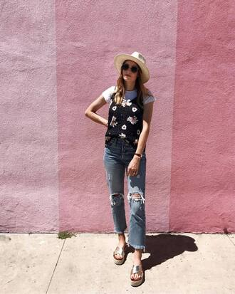 top floral top hat tumblr camisole floral jeans denim blue jeans sandals gold sandals sun hat ripped jeans shoes