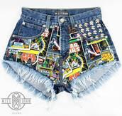 shorts,diy,shorts high waisted ying yang tie dye,shorts denim,diy shorts,star wars