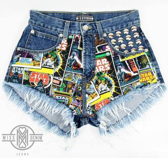shorts diy shorts high waisted ying yang tie dye shorts denim diy shorts star wars